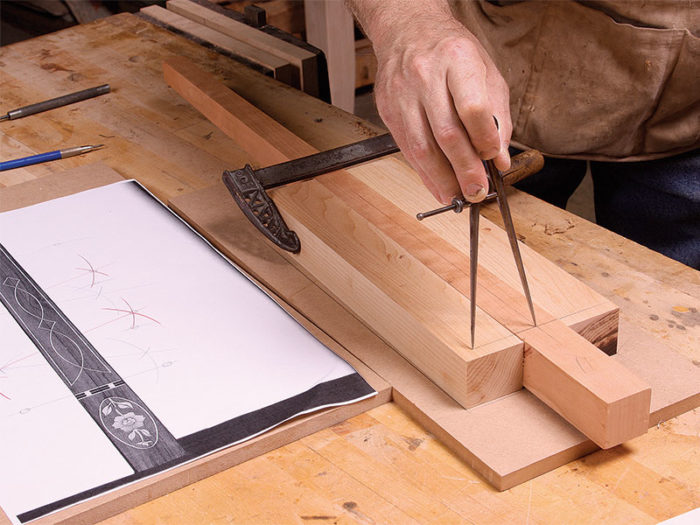 Start by marking vertical and horizontal axes on the actual leg just as you did on the drawing
