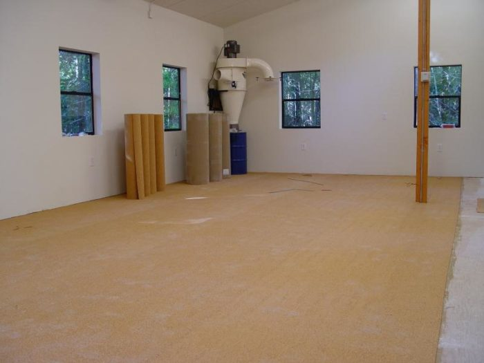Cork flooring in the shop - FineWoodworking