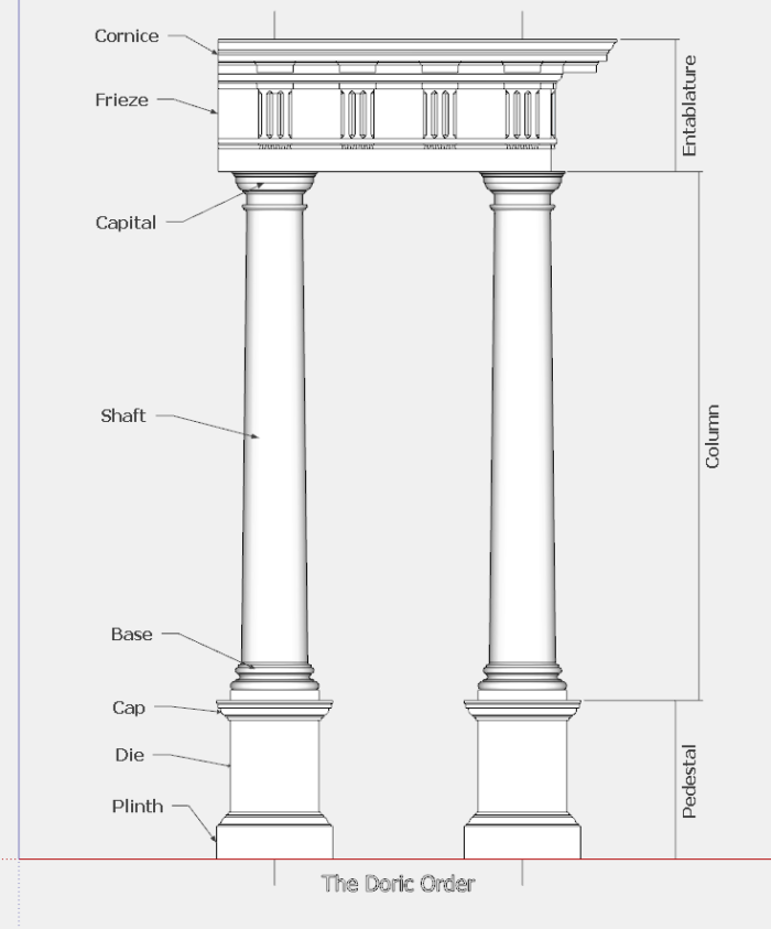 Parts Of A Column >> The Doric Order Classic Architecture In Sketchup