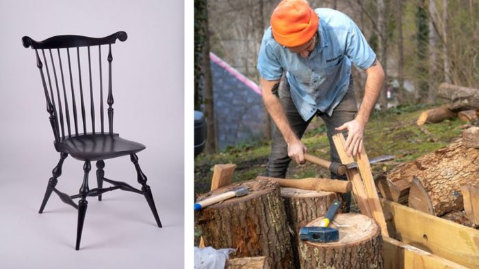 A Curtis Buchanan fanback chair, and Eric Cannizzaro splitting green oak with a froe.