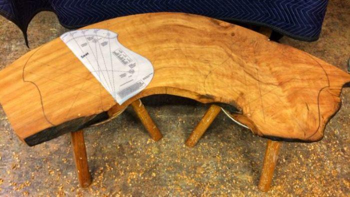 oak bench in the making