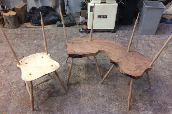 oak seats being made