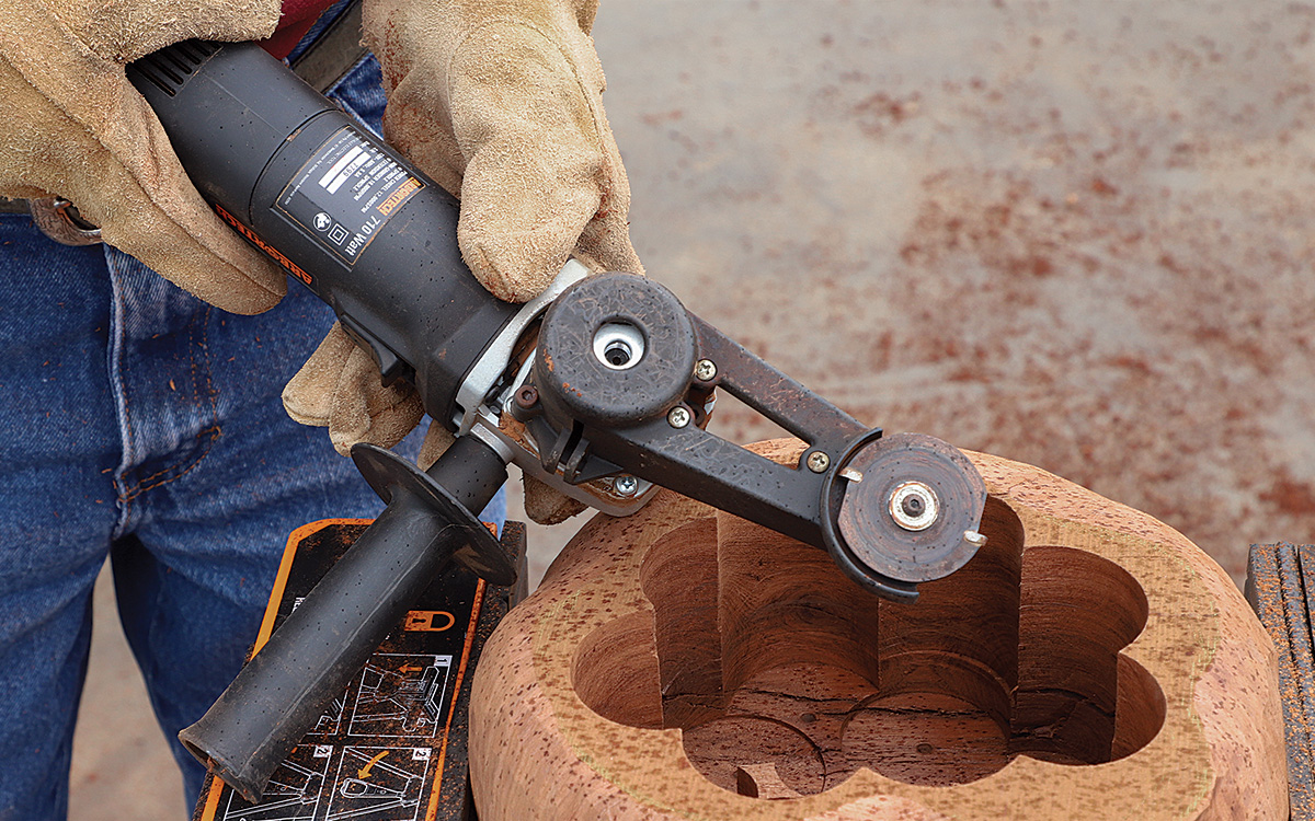 Arbortech Mini Carver with a carbide cutting wheel