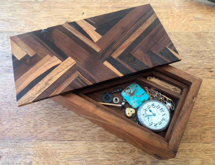 box made of many different woods