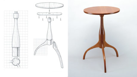 a diagram of a round Shaker stand and an image or a round Shaker stand