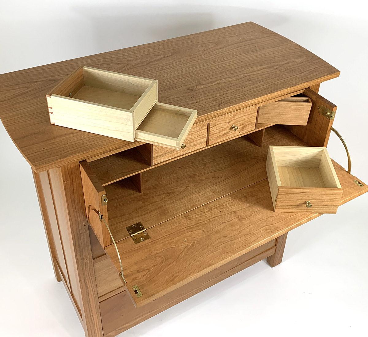 butler desk top view