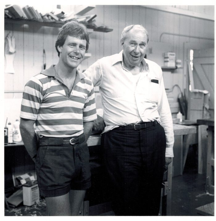 Phil Lowe standing with George Fullerton