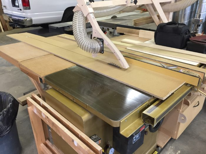 Cutting homosote on the tablesaw.