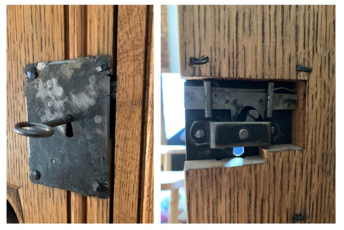 hardware lock nailed on