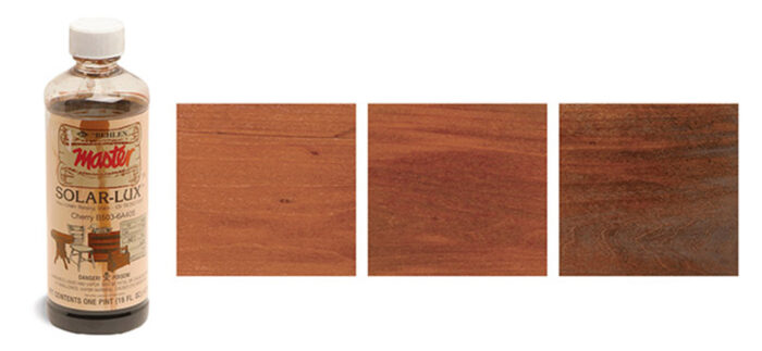 Showing the effects of Solar-Lux non grain rasing stain on wood samples using different mixing recipes.