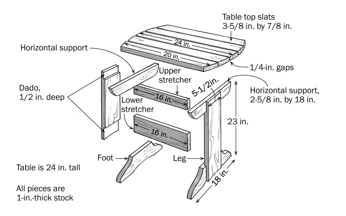 adirondack table illustration