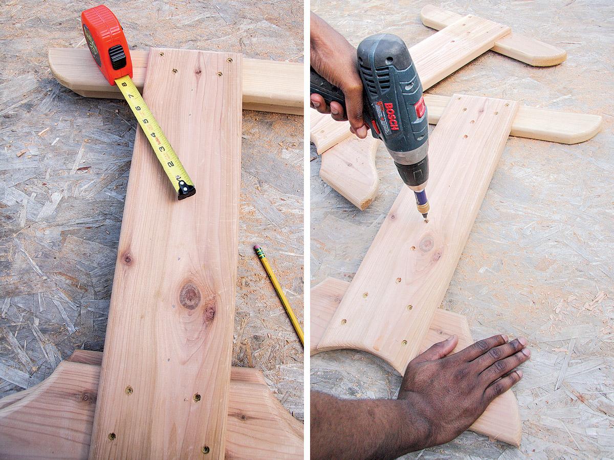 Drill the pilot holes using a pilot/counterbore bit