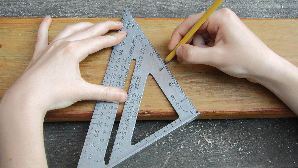 Because the chopsaw's blade will start cutting in the middle of the board, use an angle square to mark a 30-degree line before making the second cut.