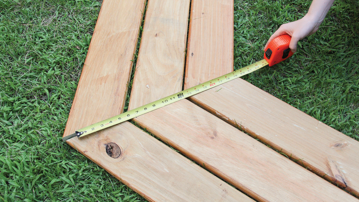 Line the boards up on a flat lawn or driveway.