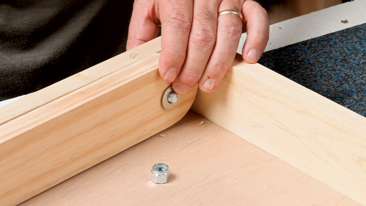 The square head of the carriage bolt will sink into the wood on the back side and resist turning, making it easy to tighten everything in place.