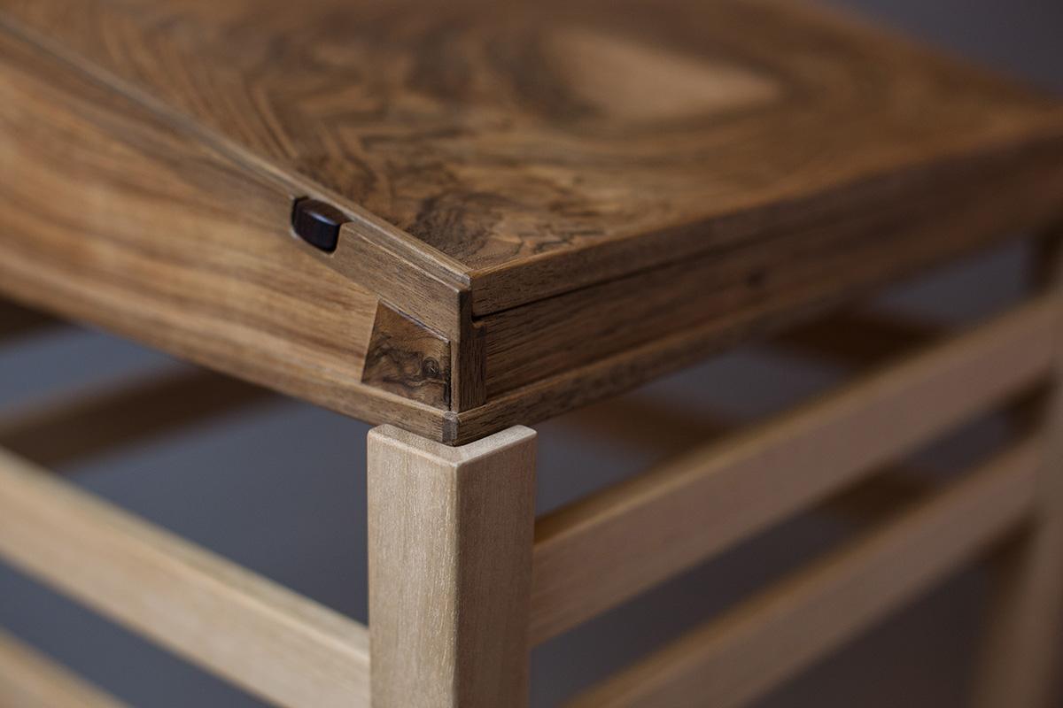 english walnut writing desk corner detail