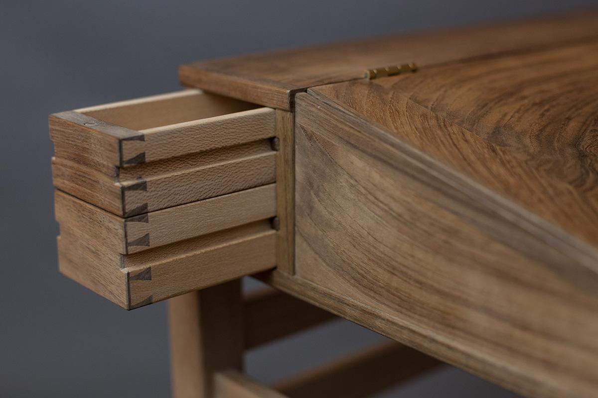 english walnut writing desk drawers
