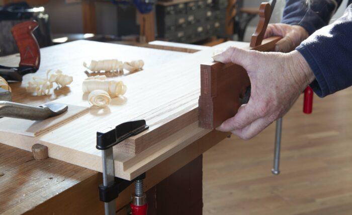 straight wooden rabbet plane