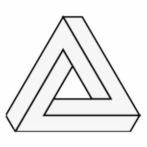 Line drawing of a Penrose triangle