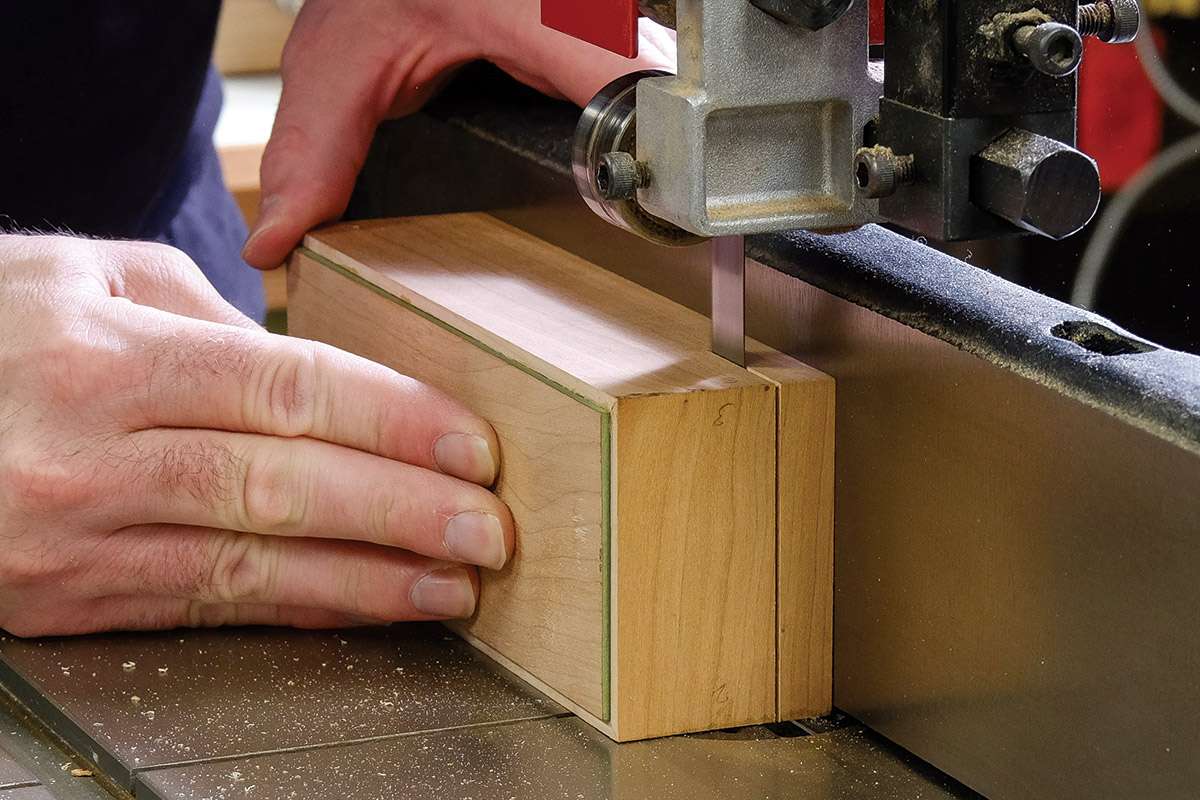 Cut the lid off the box at the bandsaw