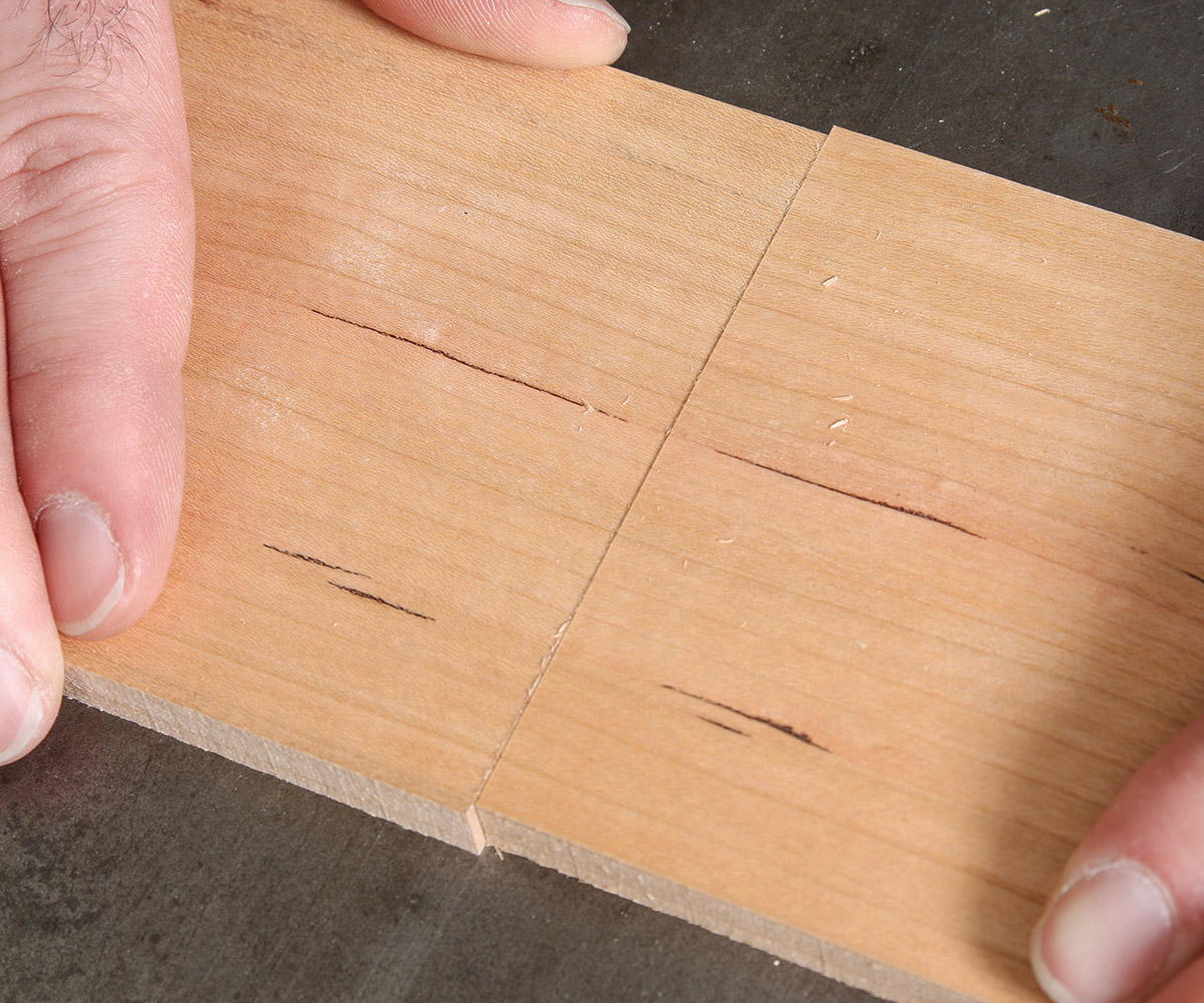 Adjust the sides up and down until the grain aligns along the two boards