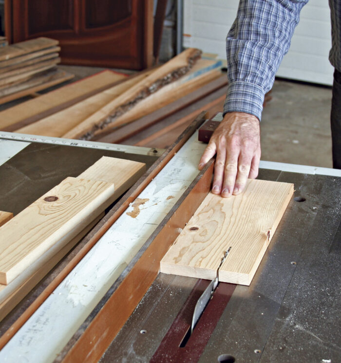Cut boards on a tablesaw to rough oversize lengths.
