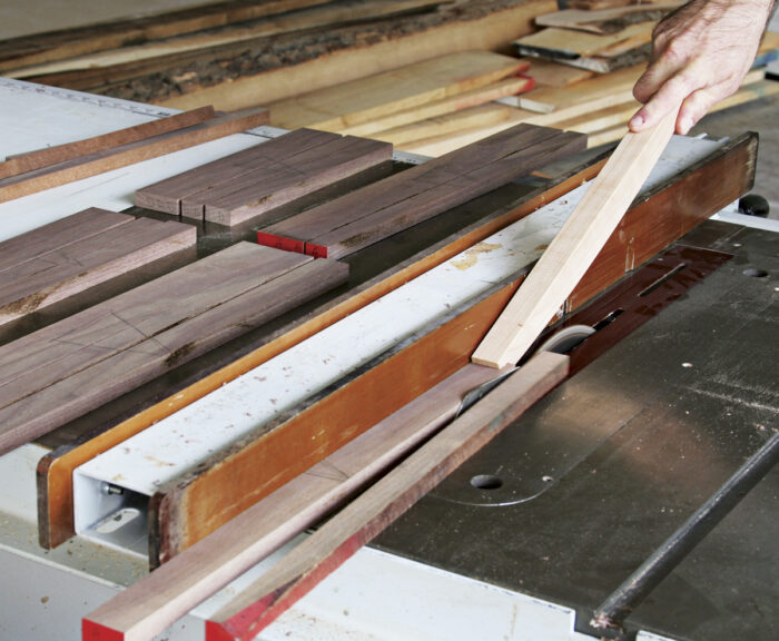 Rip the boards on a tablesaw.