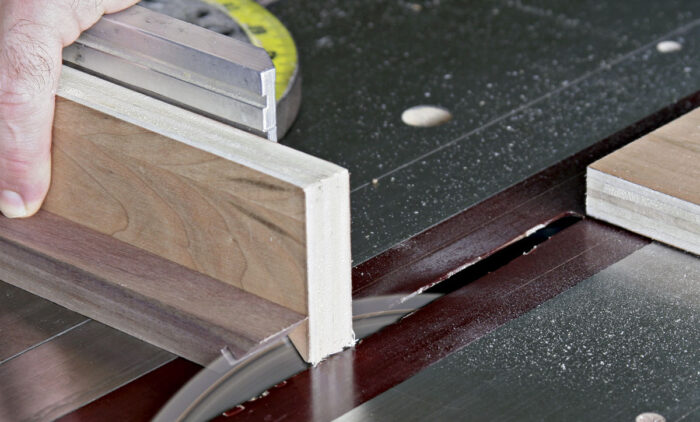 Cut the miter groove one quarter inch deep.