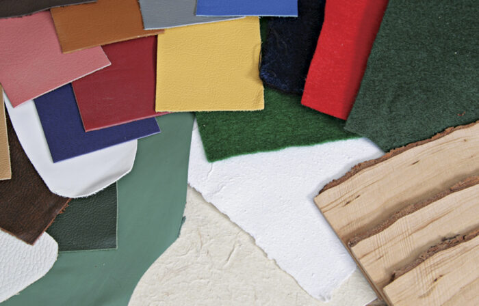A variety of felts, velvet, and other materials are shown.