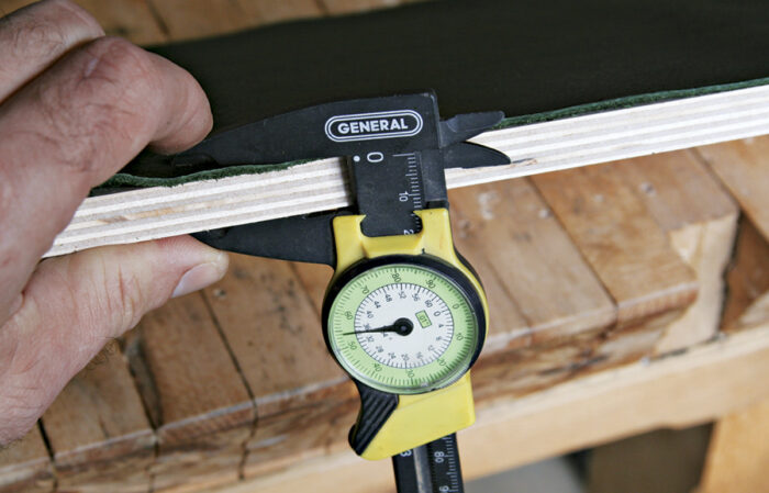 Measure the total thickness of the box including the leather lining.