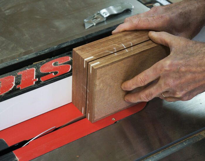 Cutting the box lid on a tablesaw