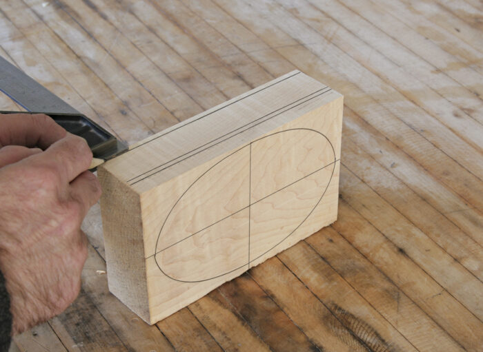 Use a pencil and combination square to mark cut lines.