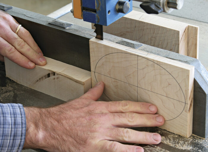 Carefully resaw the block into layers on the bandsaw.