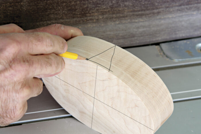 Before taking the pieces apart, draw a triangle on the side.