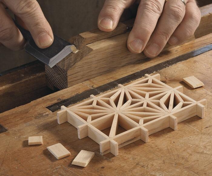 Making a kumiko panel.