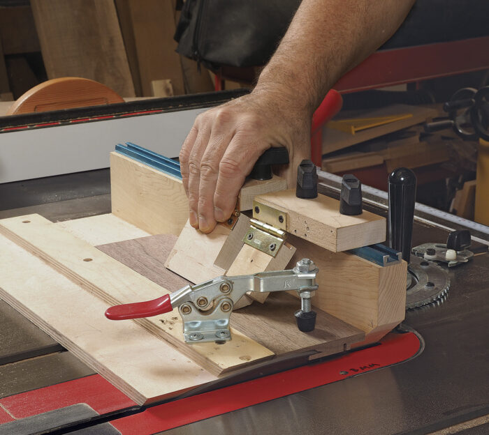 Start by mitering one end of the stock.