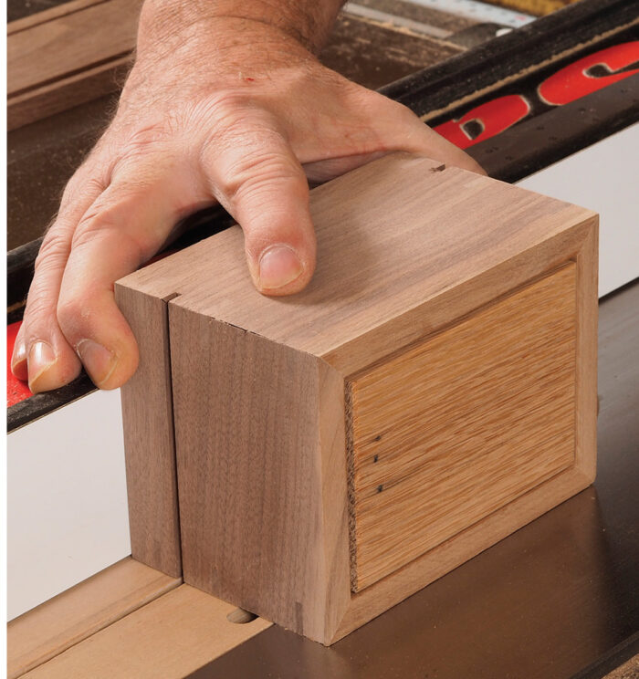 Start with the ends when cutting, making sure to keep the box against the fence.