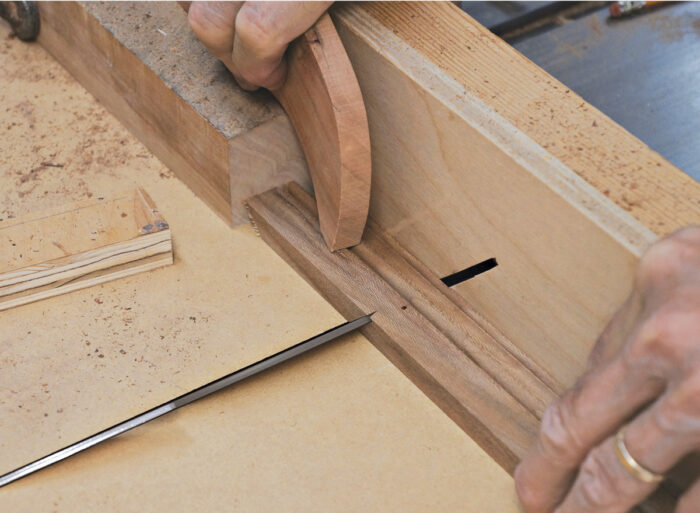 Cut the second miter face up.