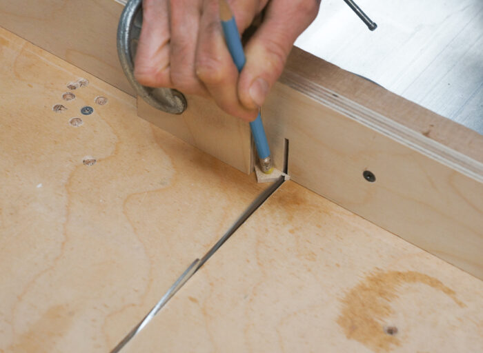 Using a pencil eraser to hold a small tab on tablesaw