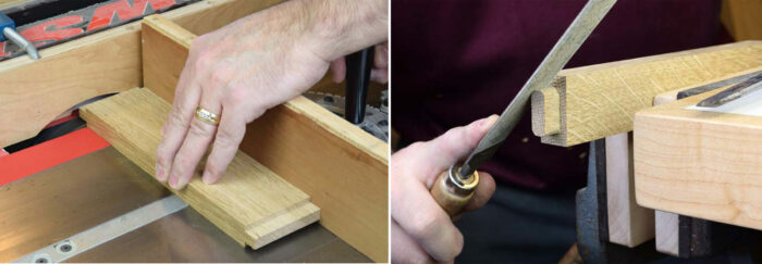 Cutting and shaping the tenons