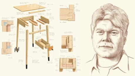 drawing of john hartman and a desk