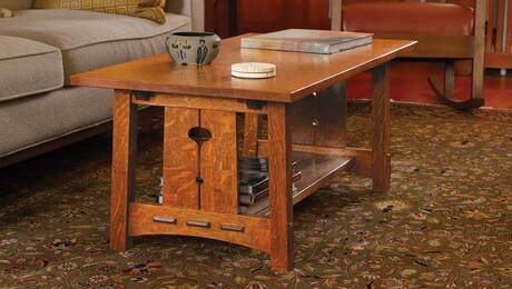 Arts and Crafts coffee table with story-book charm