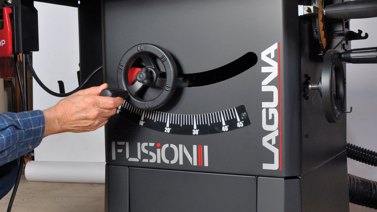 Smooth settings. Blade elevation and angle adjustments are smooth and easy, with little effort required to tilt the blade to its 45° max.