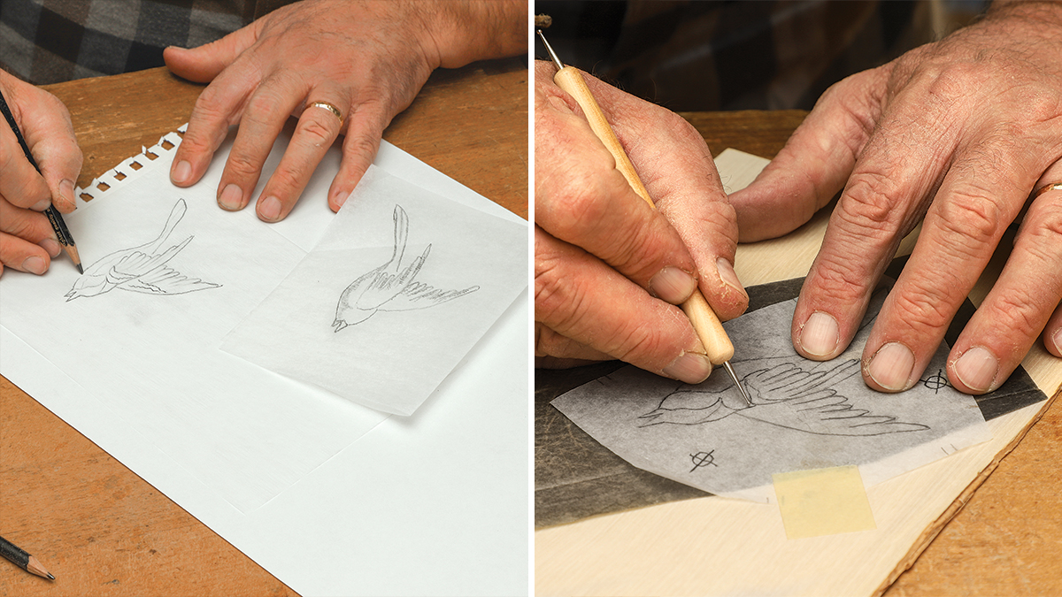 using tracing paper to create marquetry design
