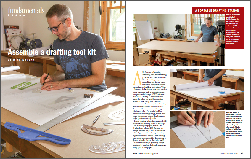 Assemble a drafting tool kit spread