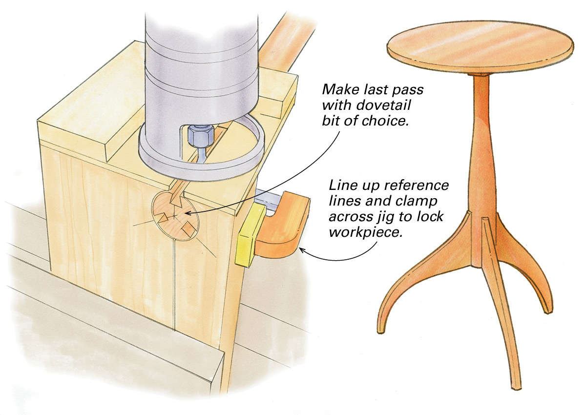cutting sockets for three-legged table
