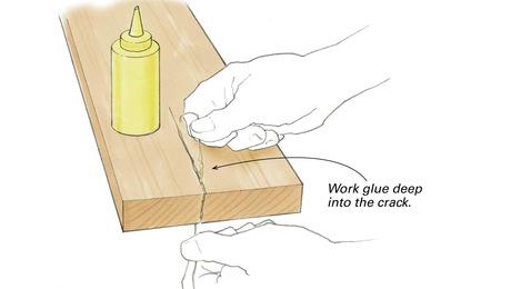push glue into wood crack