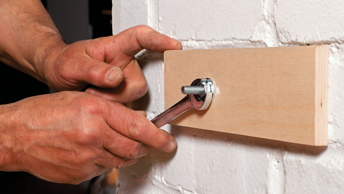 Once the anchor is fixed into the masonry, the woodwork can be easily attached, adjusted, or removed without compromising the seated anchor.