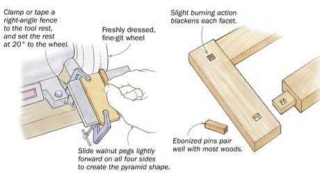 Shape and ebonize walnut pegs