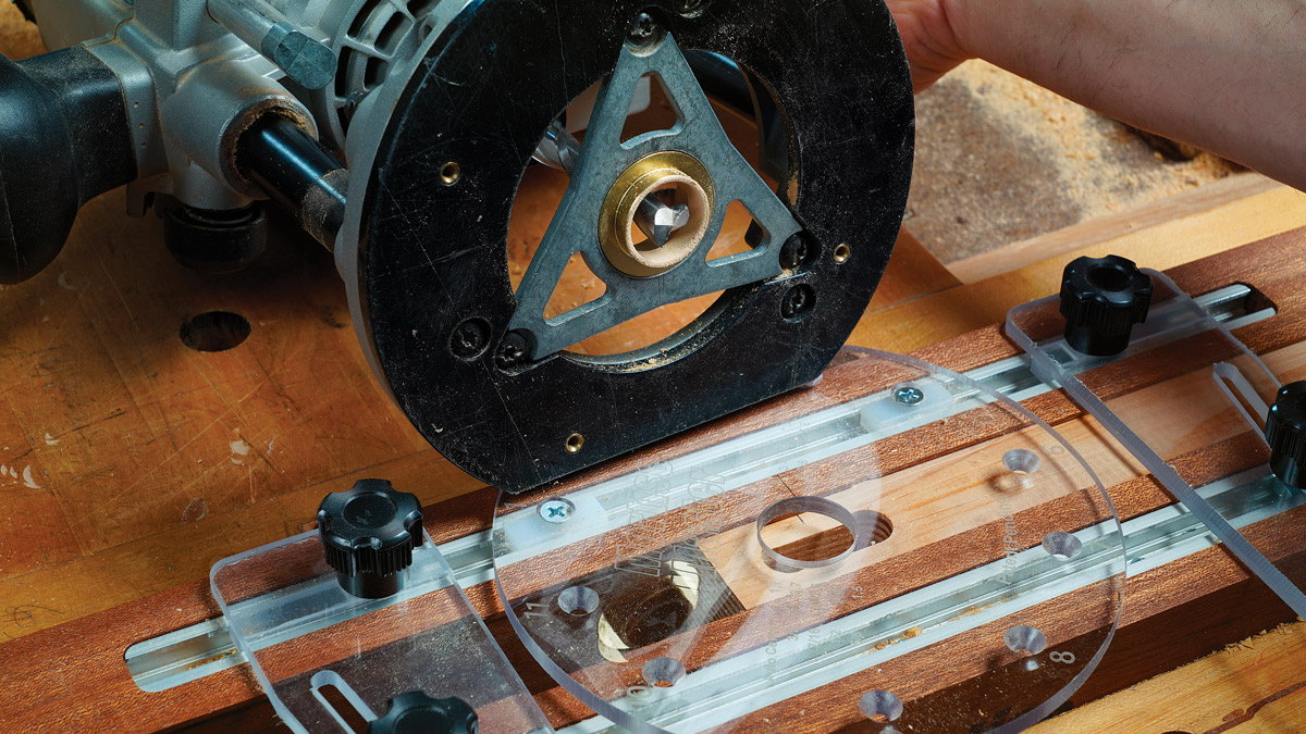 Fast and foolproof. The bushing fits in the jig's slide plate with zero slop. UHMW plastic blocks attach to the plate for various mortise locations. The blocks slide nicely in the jig's T-tracks for excellent control.